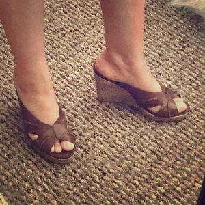 Brown Faux Leather Wedge Slip-on Sandals